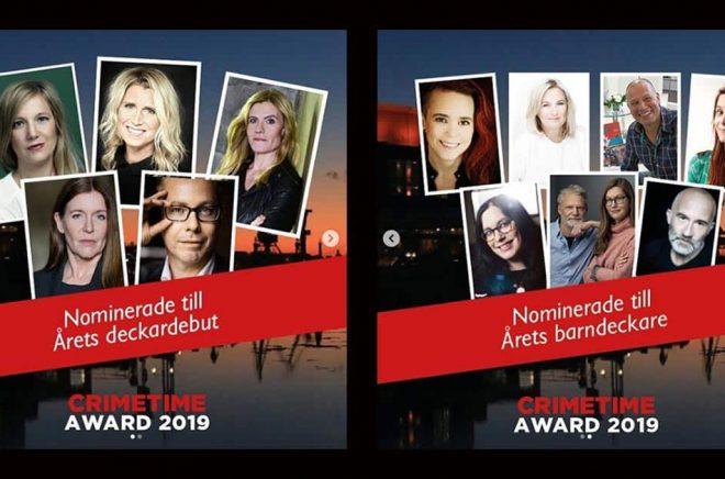 Författarna bakom de tio nominerade böckerna i två av kategorierna vid Crimetime Awards 2019.