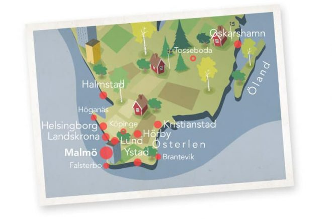 Välja semesterläsning efter geografisk plats? Varför inte. Foto: Bokus/Deckarkartan
