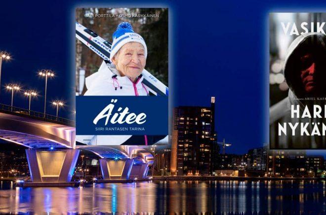 Förlaget Docendo med imprintet Crime Time är ett av två förlag som köps av Bonnier Books i Finland. Två titlar från förlaget och i bakgrund staden Jyväskylä där de har sitt kontor. Foto: iStock. Montage: Boktugg.