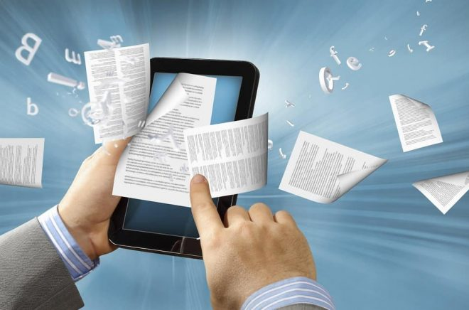 library in the e-book concept