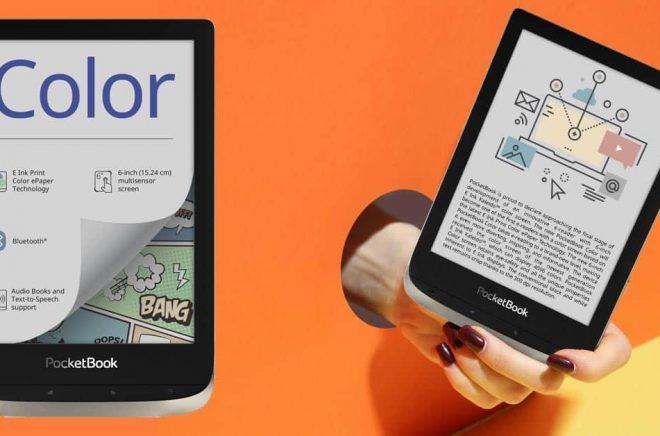 Pocketbook lanserar en läsplatta med färgskärm redan i juni 2020, skriver det schweiziska företaget. Något som kan förändra marknaden för både barnböcker och läromedel. Foto: Pocketbook. Montage: Boktugg.