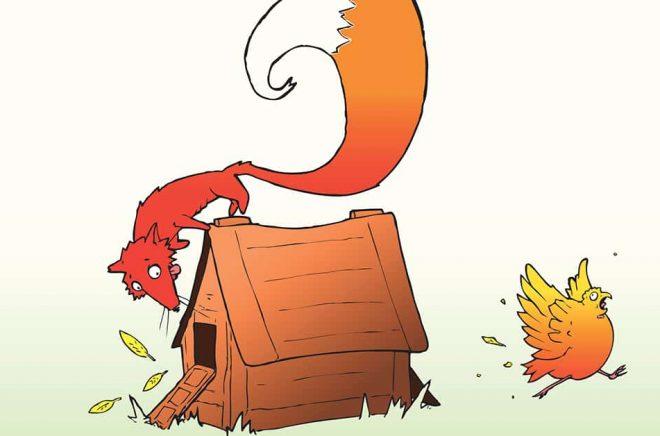 Räven och hönshuset. Så beskrev Waterstones boss Amazon och förlagen. Illustration: iStock.