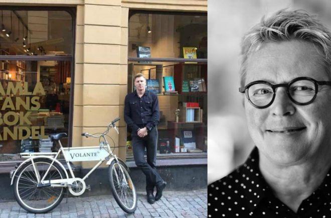 Tobias Nielsén utanför Gamla stans bokhandel (foto: Volante) och Helena Landberg (foto: Leif Högberg).