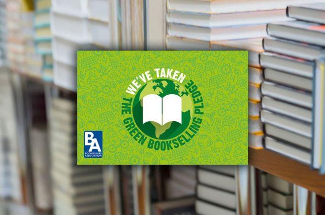 Green Bookselling heter ett initiativ från den brittiska bokhandlareföreningen. Bakgrundsfoto: iStock. Montage: Boktugg.