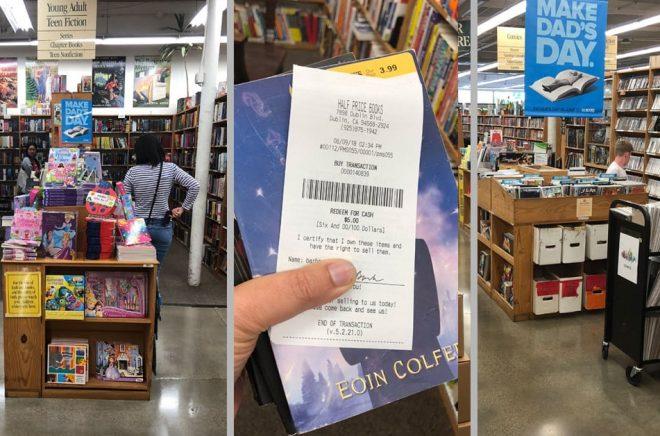 Bokhandeln Half Price Books i Dublin, Kalifornien använder begagnade böcker för att driva försäljning även av nya.  Foto: © Tina Back.
