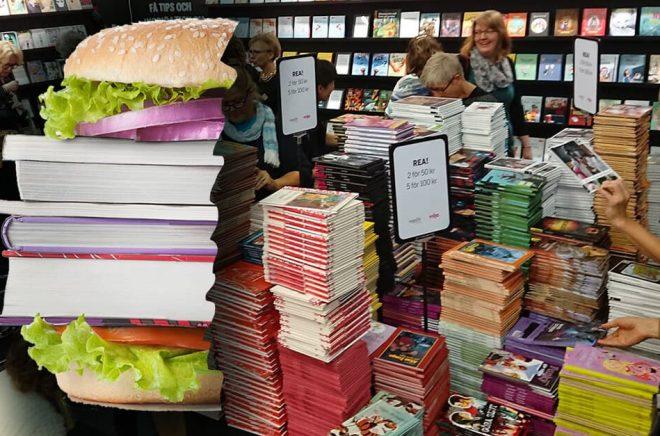 En halv hamburgare, så stort är klimatavtrycket från en tryckt bok. Men borde Bokmässan ta upp klimatfrågan för bokbranschen mer specifikt? Fotomontage: Boktugg. Bild, hamburgare: iStock. Bakgrundsbild: Boktugg.