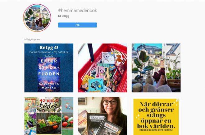 #hemmamedenbok är det allt fler som är och vill visa sitt stöd för bokhandlare, förlag och författare genom att läsa en bok (och kanske gärna köpa den i sin lokala bokhandel). Foto: Skärmdump Instagram.