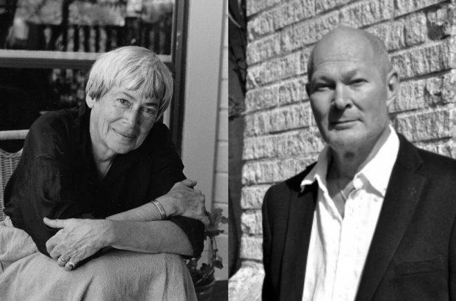 Författaren Ursula K. Le Guin (foto: Marian Wood Kolisch) och förläggaren John-Henri Holmberg (foto: Laura Holmberg).