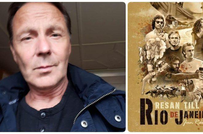 Jan Raumer är förtjust i gamla filmaffischer från Hollywood och det har inspirerat omslaget till debutromanen Resan till Rio de Janeiro. Foto: Privat