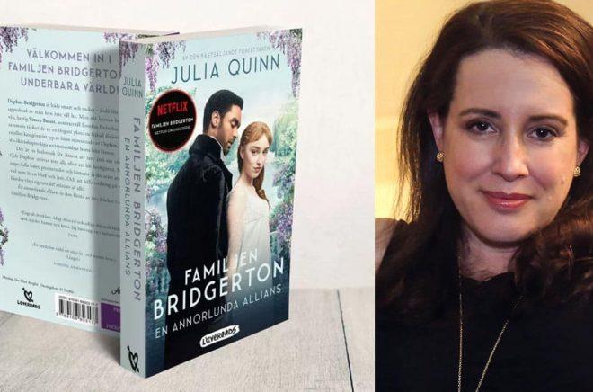 Lagom till Netflixpremiären släppte Lovereads Familjen Brigerton-boken den baseras på med nytt tv-serie-omslag. Foto: Pressbild. Till höger författaren Julia Quinn. Foto: Roberto Filho.