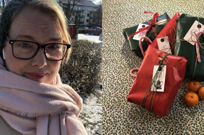 Stina Björkelid, eventmanager på English Bookshop i Uppsala, fick idén att ta fram en adventskalender med handplockade böcker och lite annat smått och gott. Foto: Privat/English Bookshop