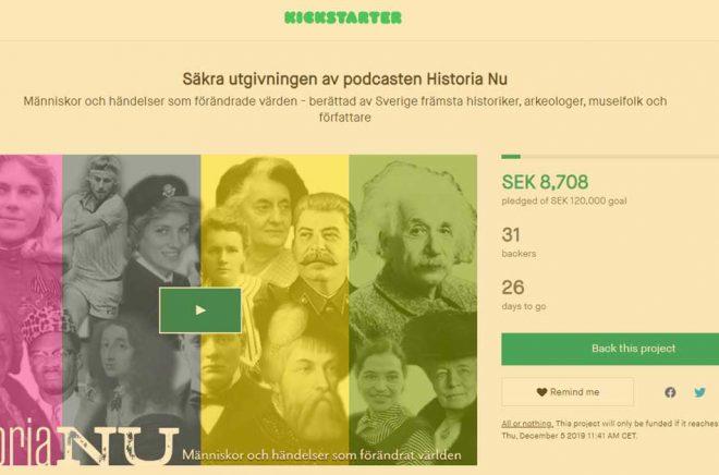 Historiska Media lanserar en Kickstarter för att dra in pengar till nya avsnitt av podcasten Historia Nu.