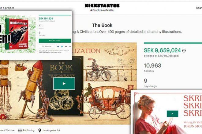 Två svenska Kickstarters som inte riktigt når upp till samma nivå som den amerikanska The Book. Montage: Boktugg.