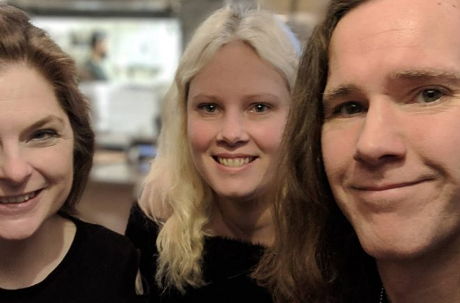 Sofi Poulsen, Aengeln Englund och Angua Vintersvärd. Foto: Privat