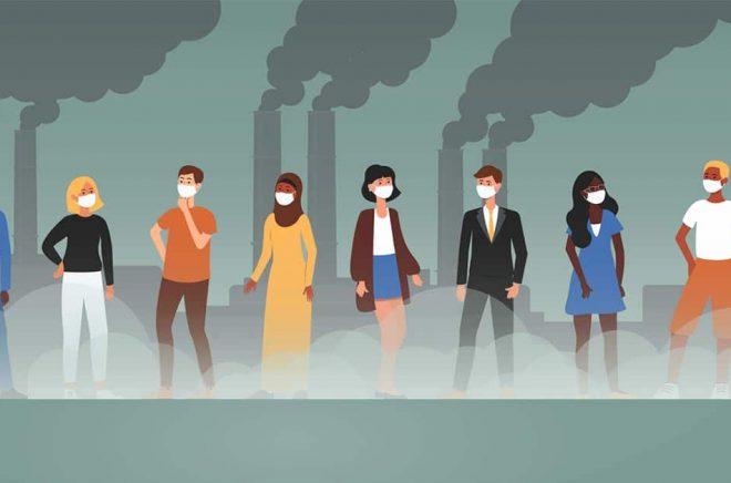 Fram till 2020 förknippades ansiktsmask med luftföroreningar - men nu tänker man istället corona. Både klimatet och corona präglar nyordslistan för 2020. Illustration: iStock.