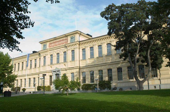 Framsidan på Kungliga bibliotekets byggnad i Humlegården, Stockholm. Foto: Istvan Borbas/KB