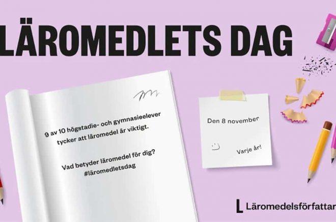 Läromedlets dag den 8 november har instiftats för att lyfta läromedlets betydelse och belysa olikvärdigheten i svensk skola. Pressbild.
