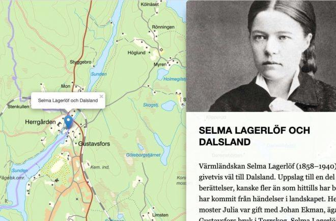 Selma Lagerlöf, Karin Boye och Carl von Linné är några av de namn som dyker upp i Litteraturkartan. Foto: Skärmklipp från Litteraturkartan.se
