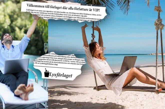 När Lyxförlaget marknadsför sig så är det med palmer och sandstränder. Förlagshusen ska locka fram kreativitet och pengar från författare. Foto: iStock. Montage: Boktugg.