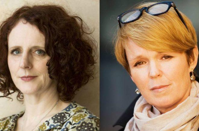 Maggie O'Farrell (foto: Murdo Macleod) och hennes svenska förläggare Johanna Daehli (foto: Ola Kjelbye).