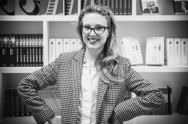 Martina Stenström, marknadsansvarig på Timbro förlag.