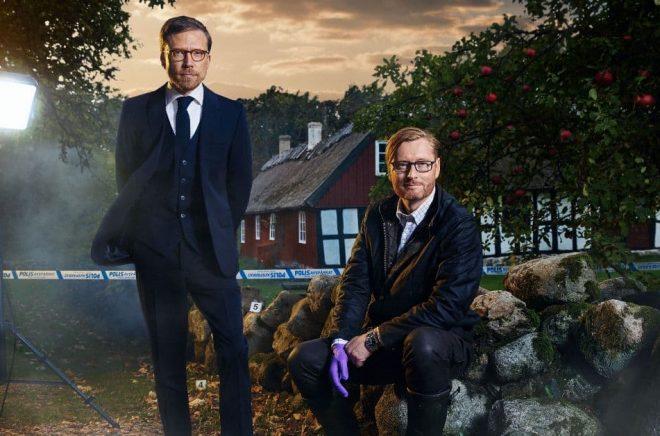 Måns Nilsson och Anders de la Motte som tillsammans skriver deckarserien Morden på Österlen. Foto: Jeffery Richt