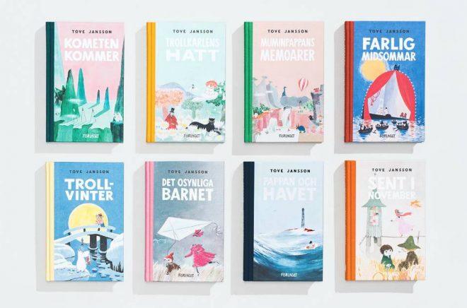 Omslag till några av  de Mumin-böcker som släpps av Förlaget i april 2019.