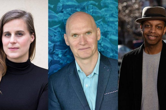 Lauren Groff (foto: Eli Sinkus), Anthony Doerr (foto: Ulf Andersen) och Robert Jones (foto: Alberto Vargas) är alla finalister i National Book Awards 2021.