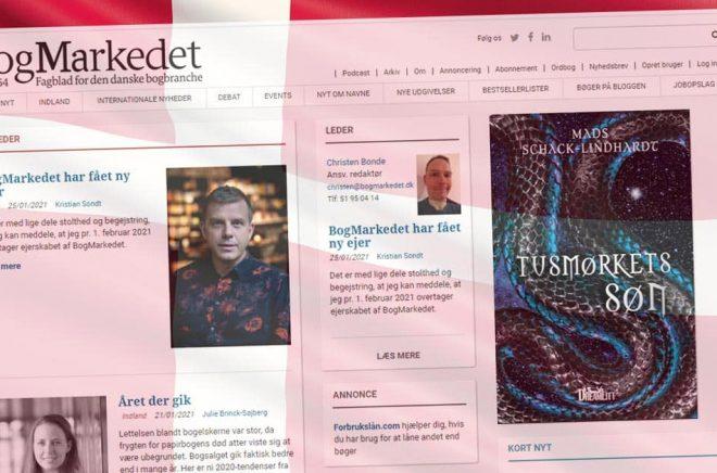 Danska branschtidningen Bogmarkedet lever vidare med ny ägare. Montage: Boktugg. Bakgrundsbild: iStock.