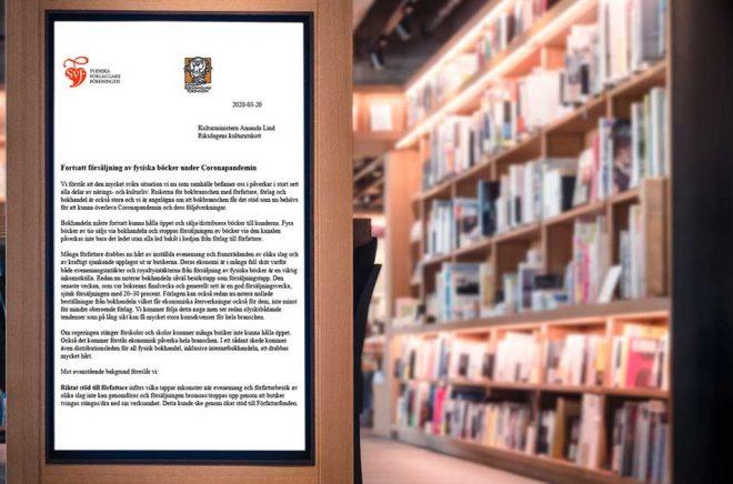 Bokhandlareföreningen och Förläggareföreningen efterlyser i ett gemensamt brev stödåtgärder för att rädda den fysiska bokhandeln. Minskad försäljning drabbar även förlag och författare hårt. Foto: iStock. Montage: Boktugg.