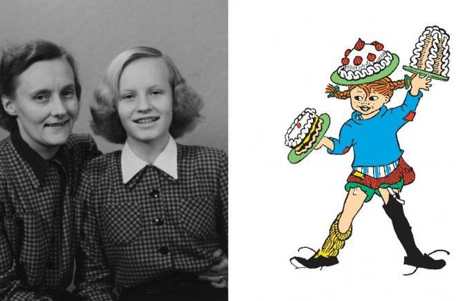 Astrid Lindgren och hennes dotter Karin, 1948 (foto: Privat/Astrid Lindgren Aktiebolag). Illustration av Ingrid Vang Nyman (källa: The Astrid Lindgren Company).