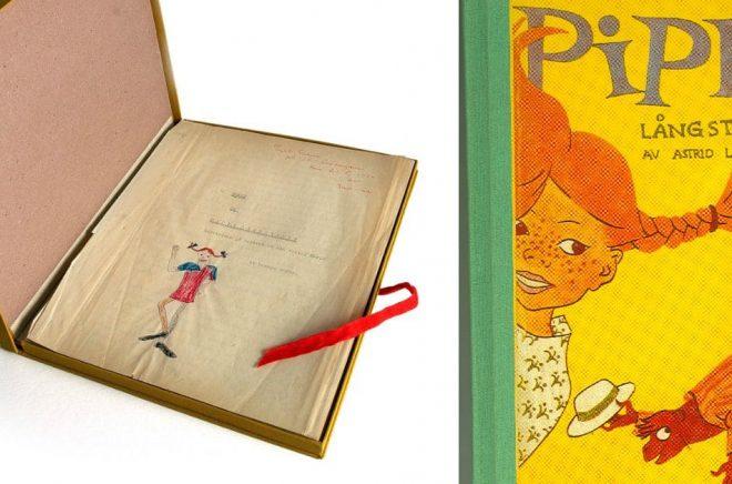 Urmanuset till Pippi som Astrid Lindgrens dotter Karin fick i födelsedagspresent (foto: Jacob Forsell) och en tidig upplaga av den första boken om Pippi Långstrump (foto: Astrid Lindgren Aktiebolag).