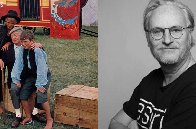 Till vänster: Fritiof Nilsson Piraten med Stellan Skarsgård och Reiner Albrecht vid inspelningen av TV-serien Bombi Bitt och jag 1967 (foto: Wikimedia Commons). Till höger: Jan Sigurd (foto: Alva Åberg).