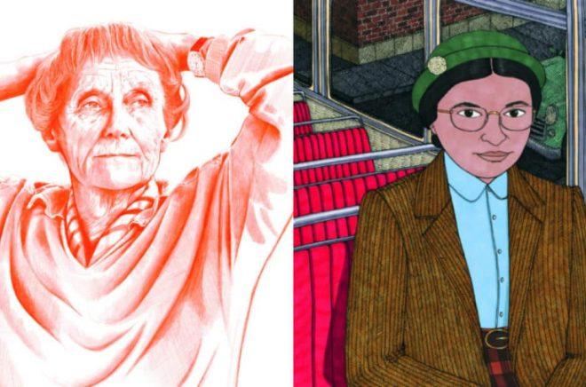 Illustrationer: Ur boken Godnattsagor för Rebelltjejer (Max Ström), Astrid Lindgren och Rosa Parks.