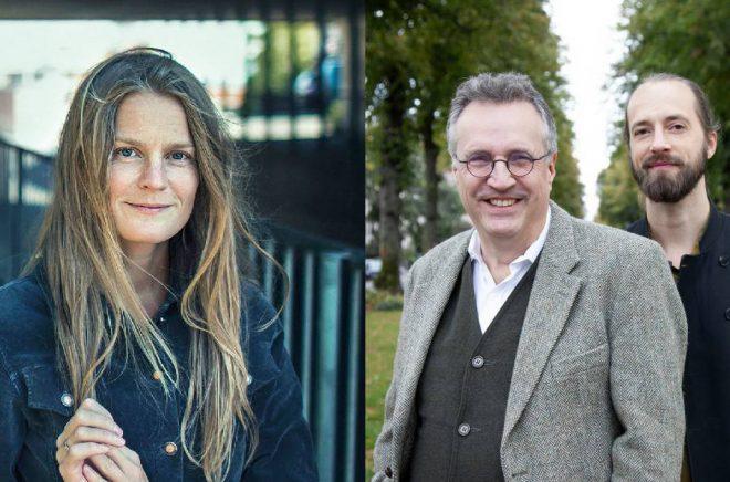 Författaren Ingvild H. Rishøi (foto: Hans Fredrik Asbjørnsen) och översättarna Stephen Farran-Lee och Nils Sundberg (foto: Olivia Borg).