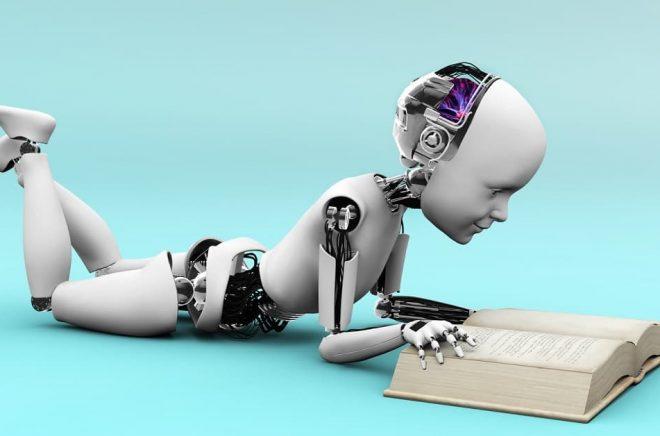 Kommer robotar eller snarare datorer att läsa böckerna åt oss i framtiden? Kanske rentav skriva dem. Illustration: Sarah Holmlund, Fotolia.