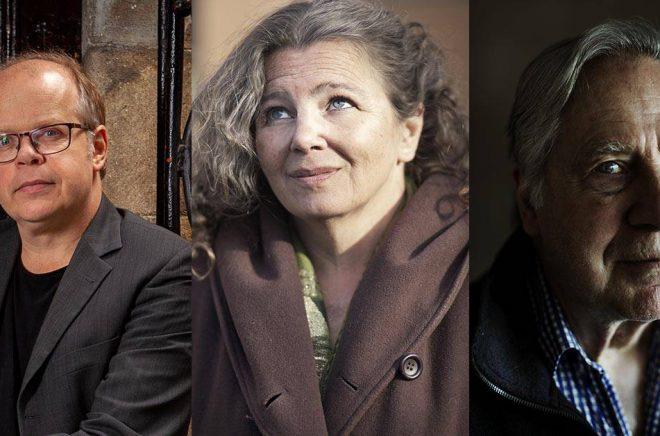 Magnus Västerbro (foto: Fredrik Hjerling), Heléne Lööw (foto: Pressbild Ordfront) och Gunnar Broberg (foto: Åsa Sjöström) är tre av de författare som belönas med priser av Samfundet De Nio.