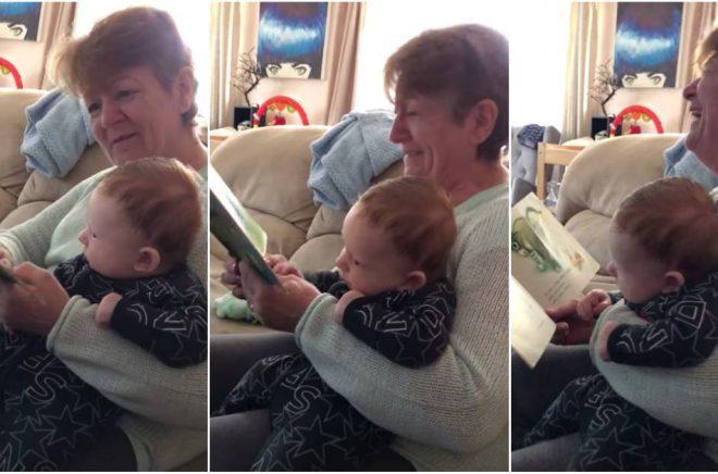 Här läser Janice Clark The Wonky Donkey för sitt barnbarn. Det är ingen tvekan om vem som uppskattar boken mest ... Foto: Skärmklipp från Youtube-kanalen The Scottish Granny.