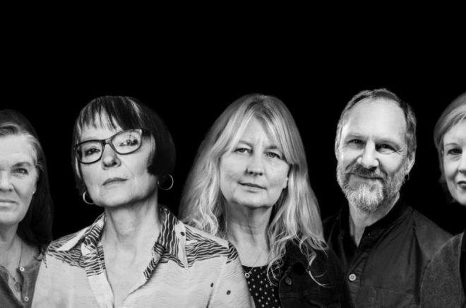Författare som gästar Sigtuna Litteraturfestival 2020. Från vänster: Maja Hagerman, Anneli Jordahl, Karin Smirnoff, Per Gustavsson och Linda Skugge. Foto: Pressbild