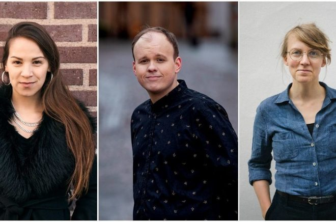 Nominerade till debutantpriset Slangbellan: Seluah Alsaati (foto:  Fredrik Skogkvist), Mitch Fredriksson (foto: Magnus Liam Karlsson) och Elin Hägg (foto: Linnea Ronström).