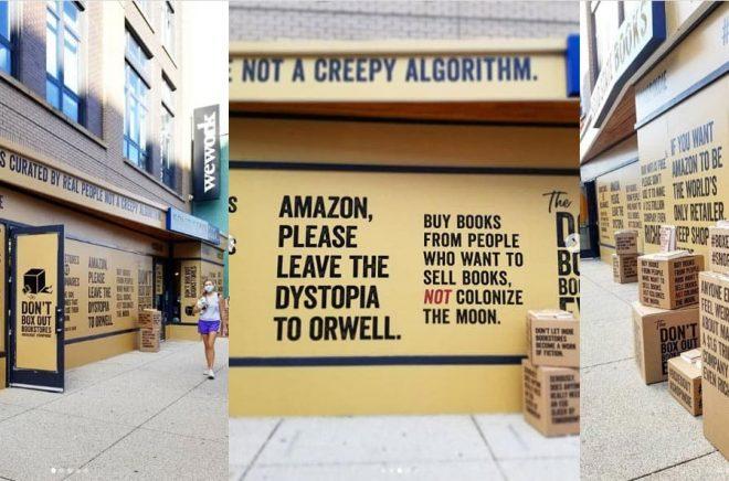 Bokhandeln Solid State Books är en av indiebokhandlarna i USA som klätt in sina skyltfönster i kampanjmaterial för att uppmana kunder att handla böcker i sin lokala bokhandel och inte på Amazon. Bilder från Solidstates Instagram.
