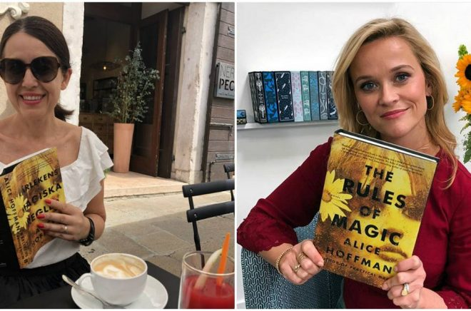 Carina Nunstedt och Reese Witherspoon fastnade båda för Alice Hoffmans bok. Foto: Privat och Reese Witherspoon/Twitter.