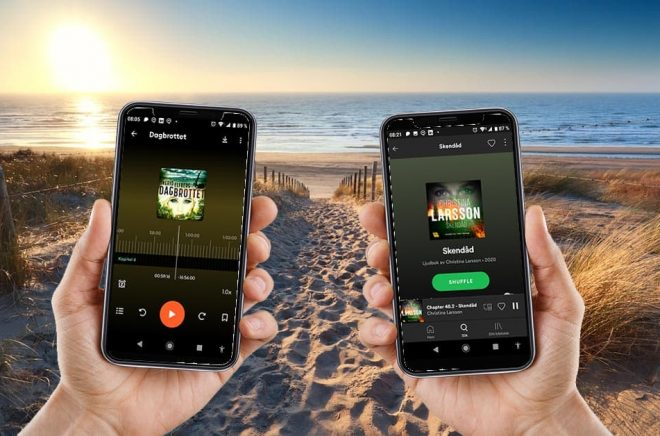 Spotify-appen har en funktion som Storytel saknar - Shuffle. Nu inleder företagen ett samarbete så att Storytelabonnenter ska kunna lyssna på ljudböcker i Spotify-appen. Foto: iStock. Montage: Boktugg.