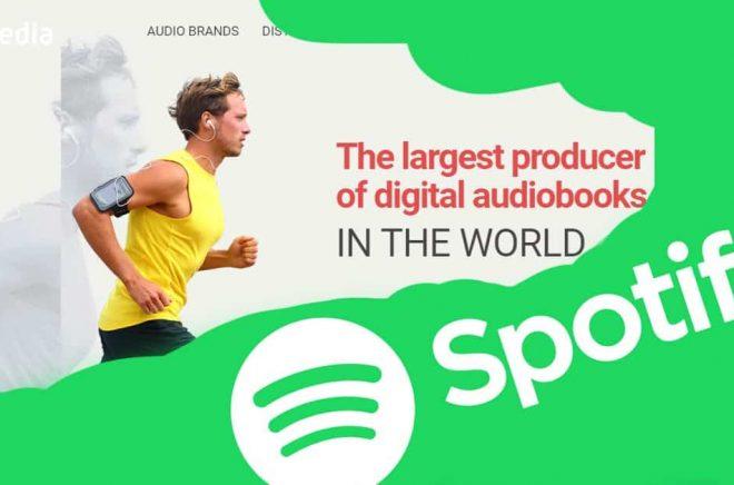 Planerar Spotify ett uppköp av ljudboksjätten RB Media? Det säger i alla fall rykten i USA. Montage: Boktugg.