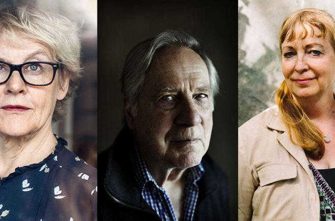 Tre författare som tilldelas priser och stipendier av Svenska Akademien): Eva Runefelt (foto: Caroline Andersson), Gunnar Broberg (foto: Åsa Sjöström) och Henrika Ringbom (foto: Niklas Sandström).