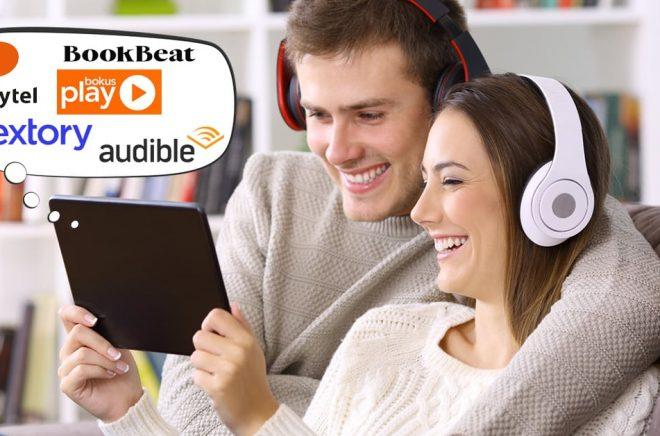 Hur ska man välja tjänst för ljudböcker och eböcker? Storytel, Bookbeat, Nextory, Bokus eller Audible? Foto: iStock. Bildmontage: Boktugg.