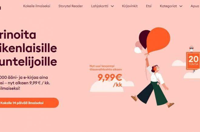 Storytel gör som Bookbeat och erbjuder ett billigare abonnemang - med begränsad lyssning på den finska marknaden. Skärmdump.