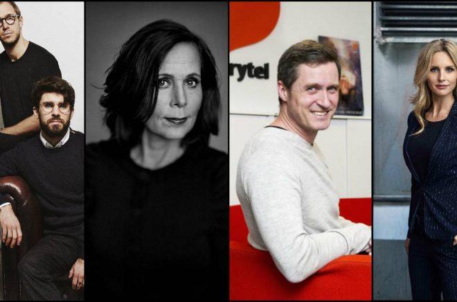 Simon Brouwers och Olle Grundin, Sara Danius (foto: Thron Ullberg), Jonas Tellander och Emelie Schepp (foto: Eva Lindblad) är alla utsedda av Resumé till Näringslivets Superkommunikatörer 2018.