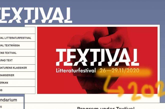 Litteraturfestivalen Textival flyttas till nästa år. Bildmontage: Boktugg.