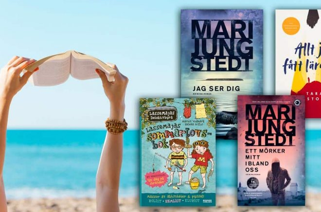 Topplistan över de mest sålda böckerna i Sverige under juni månad 2019. Deckardrottningen Mari Jungstedt toppar fyra av sex listor. Bakgrundsfoto: iStock.